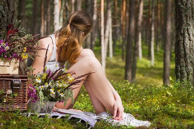 森の中でピクニック
